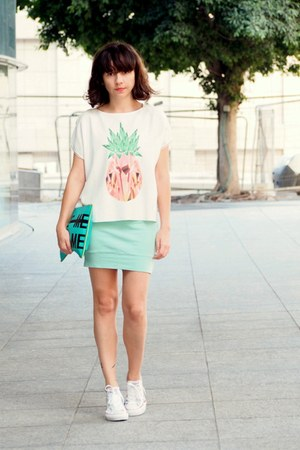 white Zara shirt - turquoise blue Zara bag - white Converse sneakers