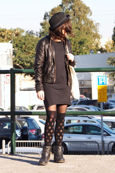 black asos boots - black H&M hat - black asos stockings