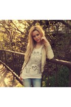 beige jacket - white t-shirt
