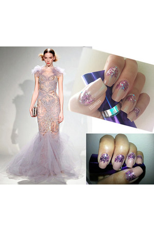 marchesa dress - nails sally hansen accessories - nails OPI accessories