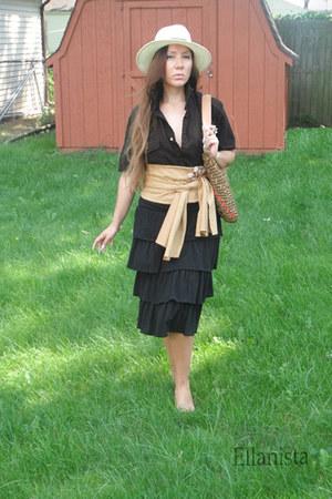 white panama hat hat - black shirt - black skirt - camel suede obi camel belt