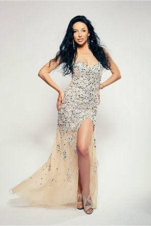 swarovski earrings - Jovani dress - rene caovilla sandals - swarovski bracelet