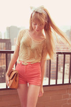 cream lace American Apparel shirt - salmon American Apparel shorts
