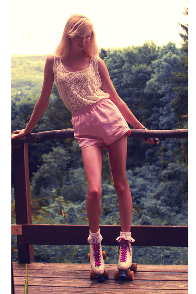 white American Apparel blouse - pink American Apparel shorts - pink American App