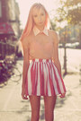 Peach-rose-tatu-blouse-red-american-apparel-skirt