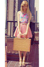 Pink-striped-american-apparel-skirt-floral-vintage-blouse