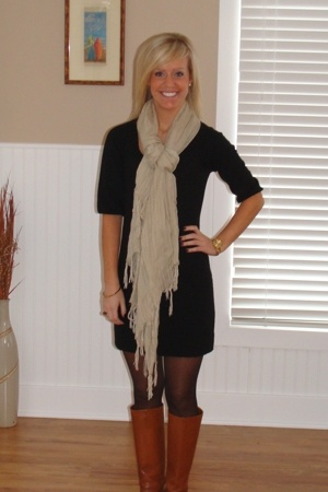 Love Quotes scarf - BCBG boots - ann taylor dress