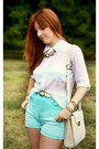 Cream-vintage-bag-light-blue-vintage-shorts-white-vintage-blouse