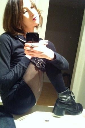 black hoodie - black vegan boots - green stockings - black skirt