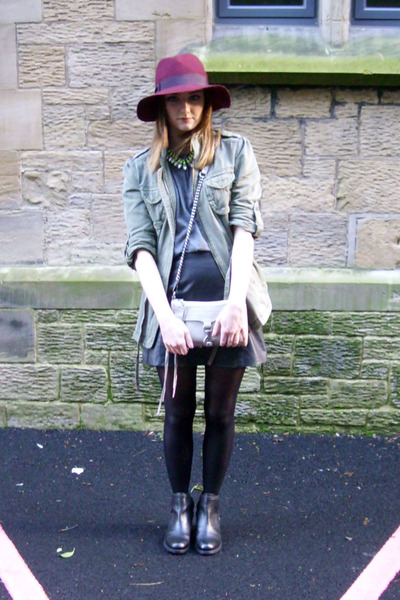 Topshop hat - asos boots - next jacket - Rebecca Minkoff bag - Topshop skirt