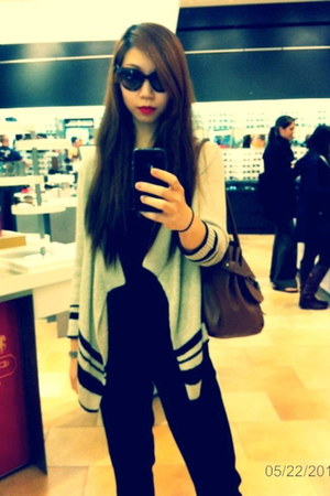 cat eye Prada sunglasses - Radley bag - Loft cardigan - Tahari pants