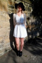 black f21 boots - white Boohoo dress - black H&M hat - cream Primark cardigan