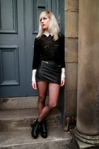 black romwe boots - white Topshop shirt - black H&M jumper - black H&M skirt