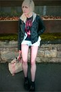 Thrifted-shorts-black-creepers-ebay-shoes-leather-jacket-primark-jacket