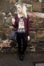 Black-romwe-boots-black-new-look-leggings-maroon-primark-blazer