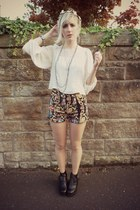 white thrifted shirt - black romwe boots - burnt orange Primark shorts