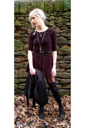 black Primark jacket - maroon Topshop dress - black waist belt new look belt