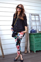 H&M pants - tory burch bag - Karen Walker sunglasses - Nine West pumps