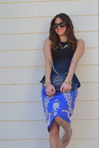 blue antropologie skirt - black tory burch bag - black Karen Walker sunglasses