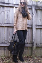 black Michael Kors bag - gold sequins Velvet Heart sweater