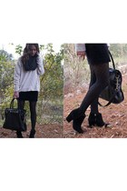 black suede Zara boots - black Forever 21 tights - gray banana republic scarf