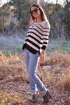 Forever 21 jeans - Forever 21 sweater - Aerie sunglasses - seychelles wedges