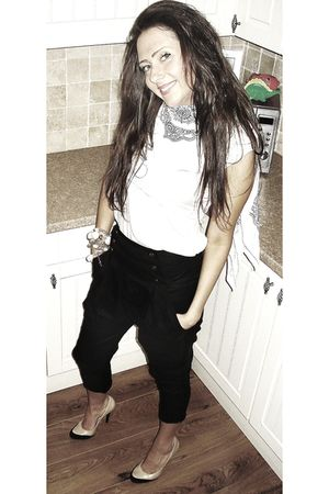 black Topshop pants - beige Topshop shoes - white maya scarf - Eryn Brinie top