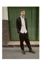 DIY shirt - H&M Trend shirt - pull&bear shoes - second hand pants - H&M suit