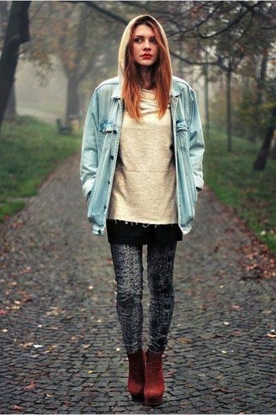 tawny new look shoes - silver Mango tights - mustard American Apparel hoodie