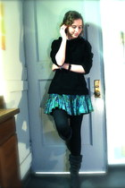 turquoise blue american star skirt - gray Roxy boots