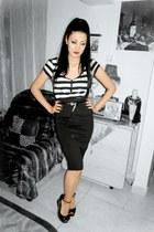 pencil skirt Stradivarius skirt - stripes Zara blouse - Leonardo wedges
