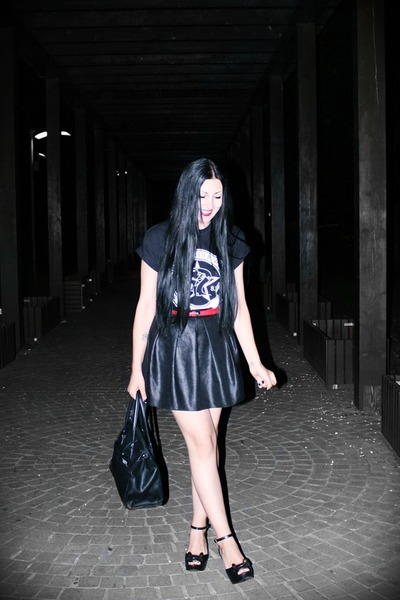 second hand bag - Leonardo wedges - Glow skirt - no name belt