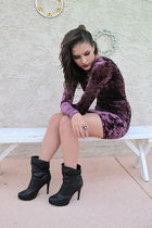 purple H&M dress - black NyLa shoes