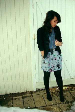 idk blouse - Wet Seal blazer - Urban Outfitters skirt - vintage necklace - vera