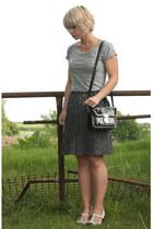 black Topshop bag - black thrifted vintage skirt - ivory t-bar Topshop heels - h
