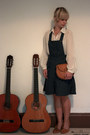 Navy-demin-dungaree-new-look-dress-tawny-clutch-satchel-vintage-bag-ivory-be