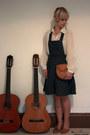 Navy-demin-dungaree-new-look-dress-tawny-clutch-satchel-vintage-bag-ivory-be
