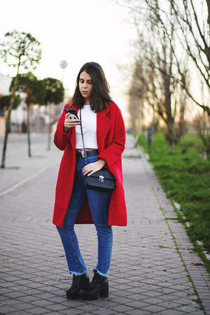 red Dezzal coat - black Newchic boots - blue Calzedonia jeans