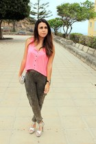 dark khaki Mango leggings - silver Parfois bag - hot pink H&M blouse