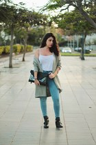 black Pimkie boots - sky blue pull&bear jeans - white Zara shirt