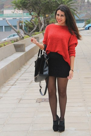 red Oasapcom sweater - black Primark bag - black Shana skirt