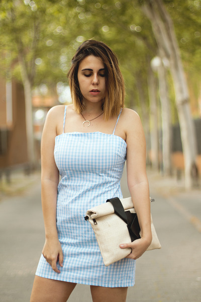 sky blue zaful dress - ivory zaful bag - gold dresslily necklace
