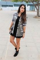 black Primark boots - black pepa loves dress - dark khaki pull&bear jacket