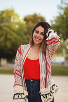 red zaful cardigan - navy pull&bear jeans - red Primark shirt