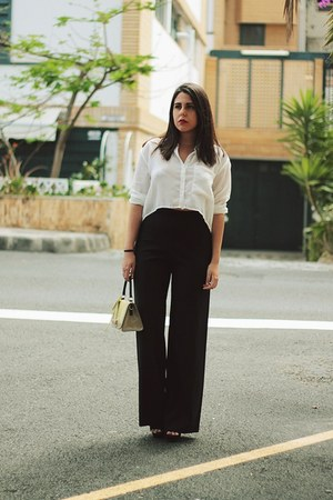 black tintoretto pants - white Local store shirt - light yellow Tosca Blue bag