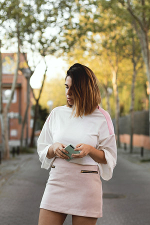 white zaful blouse - light pink sammydress skirt