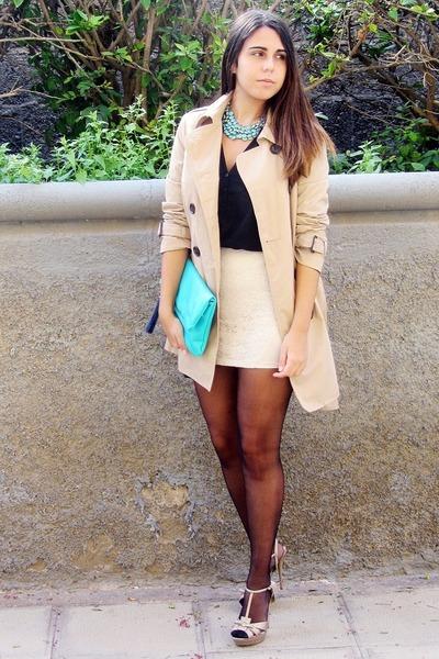 aquamarine H&M bag - beige Stradivarius coat - eggshell Bershka skirt