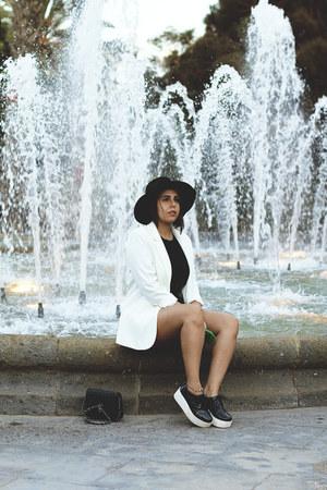 black zaful hat - white H&M blazer - black zaful shirt - black zaful shorts