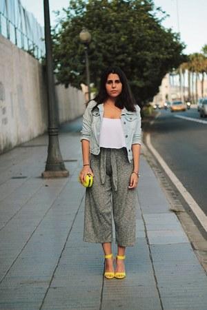 yellow suiteblanco bag - light blue Shana jacket - silver Pull & Bear pants