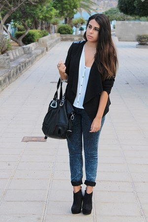 black Marypaz boots - navy Zara jeans - black H&M jacket - black Mulaya bag